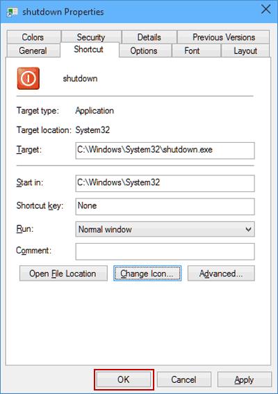 Change Shutdown Shortcut Icon on Windows 10 Desktop