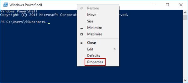 Change Windows PowerShell Window Position in Windows 10