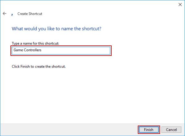Create Game Controllers Shortcut on Windows 10 Desktop
