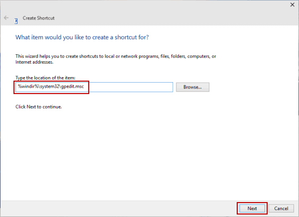 Create Local Group Policy Editor Shortcut on Desktop