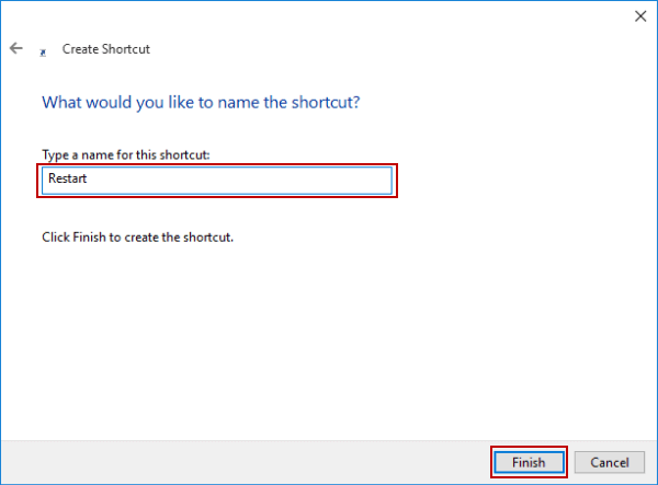 Create Restart Shortcut on Windows 10 Desktop