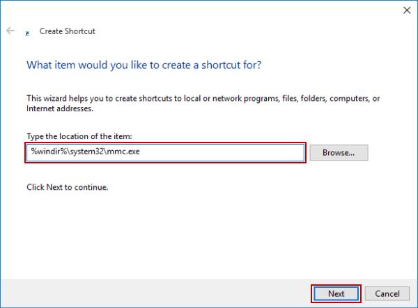Create Shortcut for MMC on Windows 10 Desktop