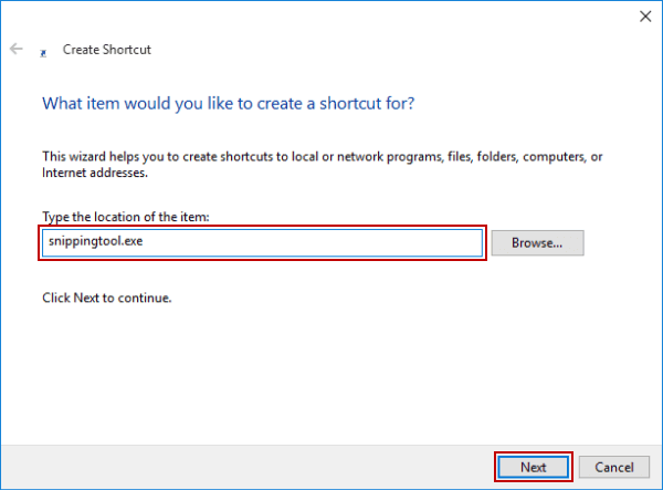 Create Snipping Tool Shortcut in Windows 10