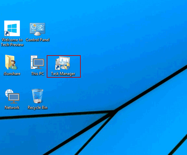 create task manager shortcut on windows 10 desktop