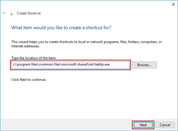Create Touch Keyboard Shortcut in Windows 10
