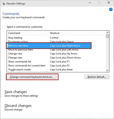 Customize Narrator Command Keyboard Shortcut on Windows 10