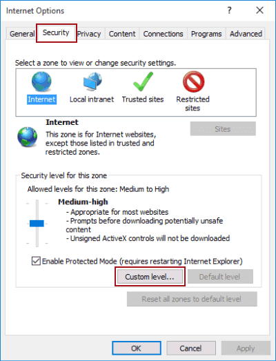 Customize Security Level in IE on Windows 10