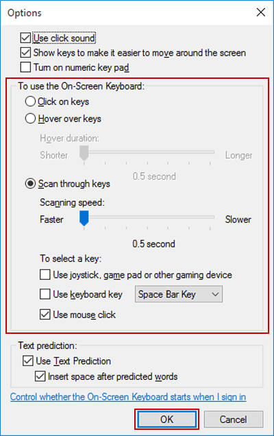 Customize Typing Mode for On-Screen Keyboard in Windows 10
