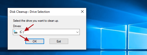 select disk to clean up