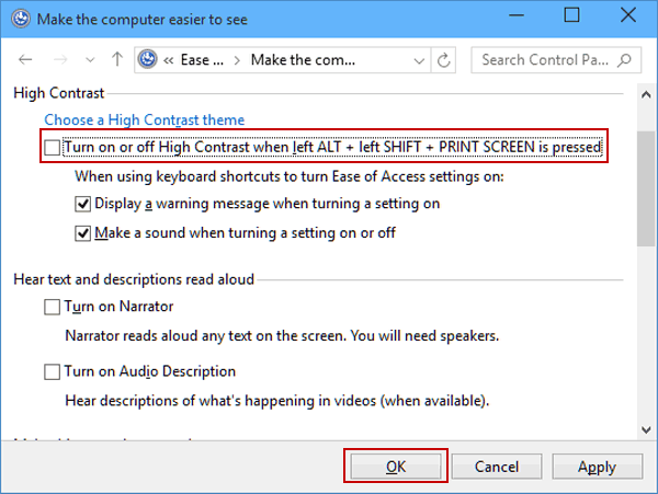 Disable high contrast keyboard shortcut in windows 10 step 2 in the following window deselect turn on or off high contrast when left alt left shift print screen is pressed under high contrast ccuart