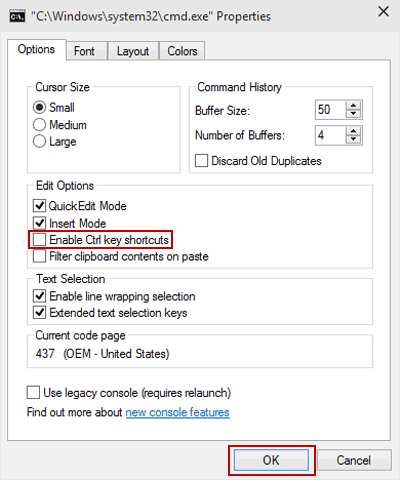 Disable or Enable Ctrl Key Shortcuts in CMD on Windows 10: http://www.isunshare.com/windows-10/disable-or-enable-ctrl-key-shortcuts-in-cmd-on-windows-10.html
