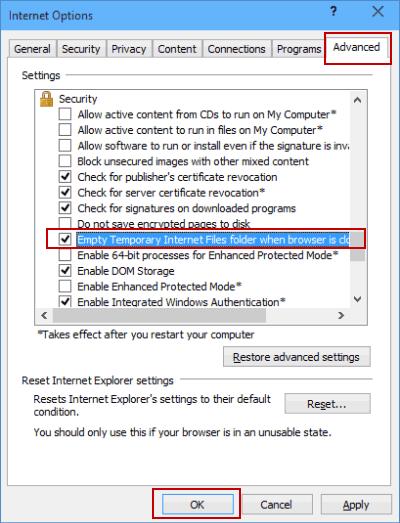 empty temporary internet files folder: