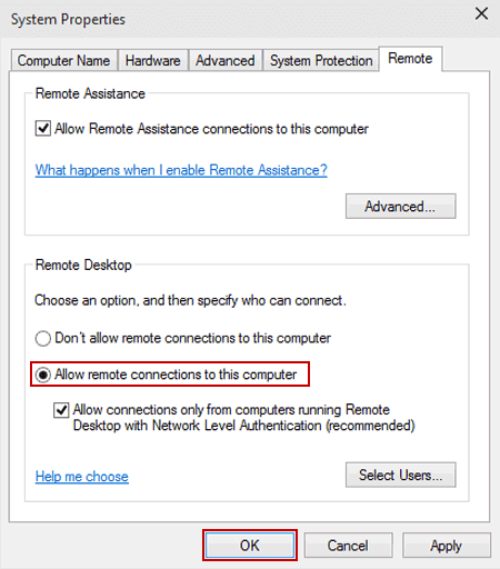 How to enable allow remote connection in windows 10