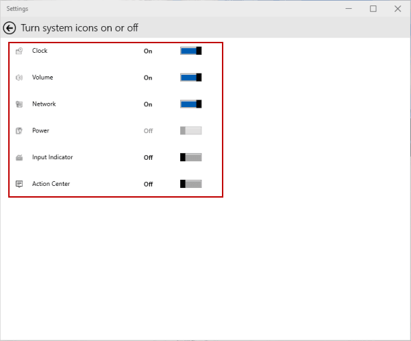 Hide and Show System Icons on Taskbar in Windows 10