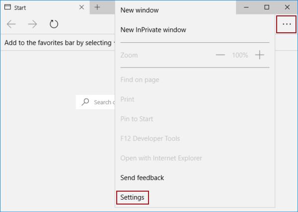 Hide or Show Favorites Bar in Microsoft Edge