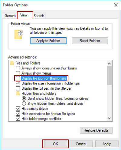 Hide or Show File Icon on Thumbnail in Windows 10