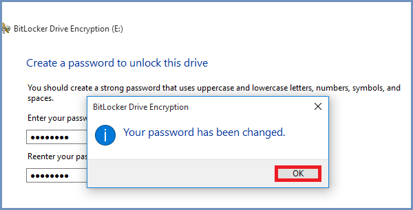 đặt lại mật khẩu BitLocker thành công