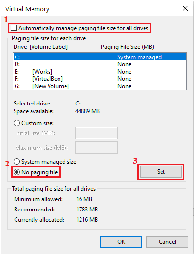 automatically manage paging file size