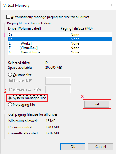 system managed size