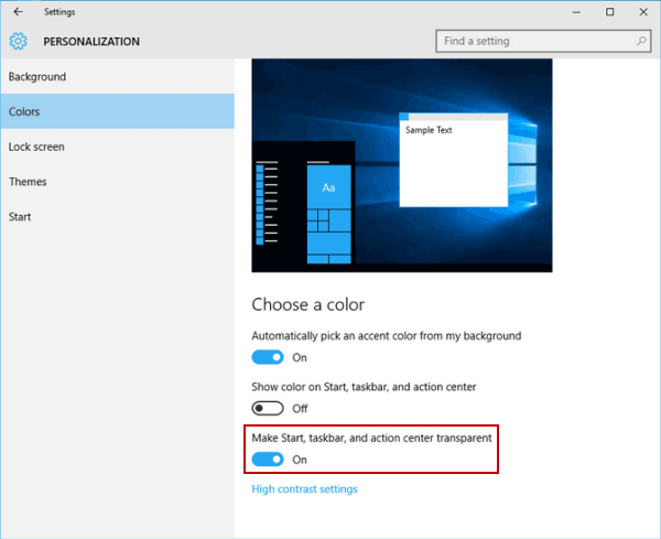 How to Make Action Center Transparent in Windows 10
