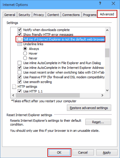Not Telling Me If IE Is Not Default Web Browser in Windows 10