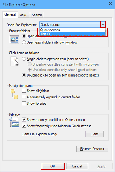 Open File Explorer to Quick Access or This PC in Windows 10