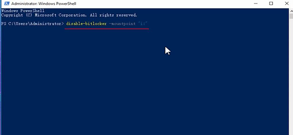 Disable-BitLocker -MountPoint