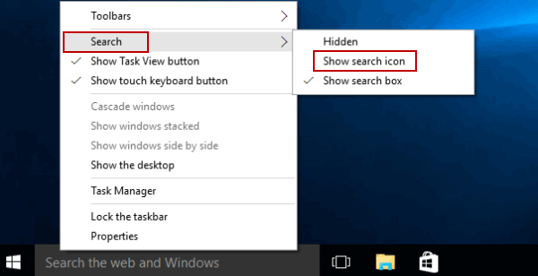 Replace Search Box with Search Icon on Taskbar in Windows 10