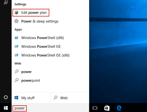 Restore Power Plan Settings in Windows 10