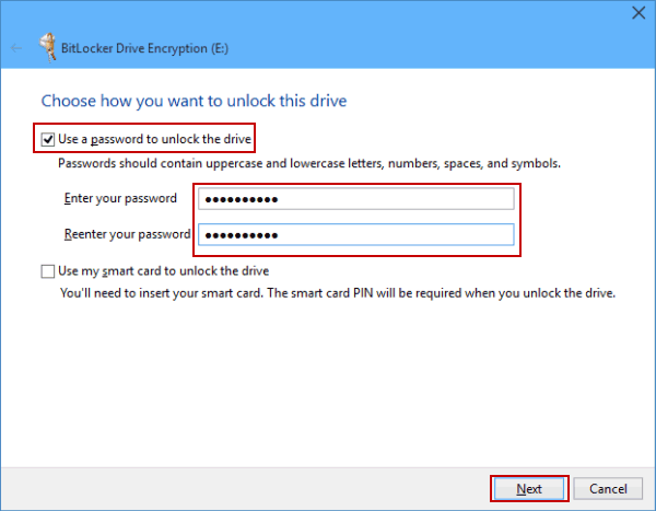 how to put a password on a hard drive