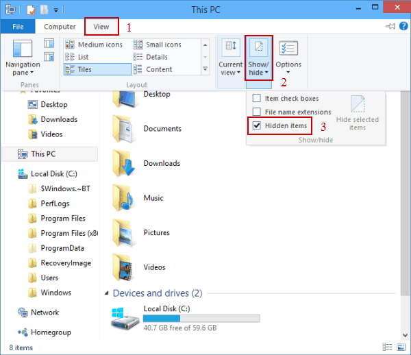 hide unhide files in windows 10