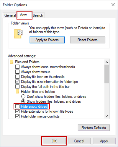 Show or Hide Empty Drives in Windows 10