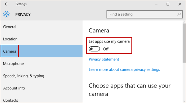 Turn Off Or On Camera In Windows 10