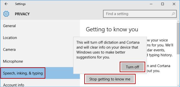 Turn off or on Cortana in Windows 10