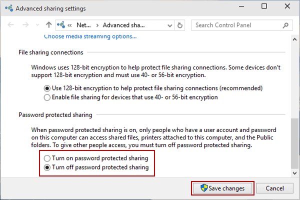 Turn off or on Password Protected Sharing in Windows 10