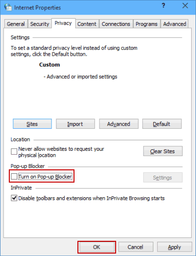 how to stop pop ups win 7