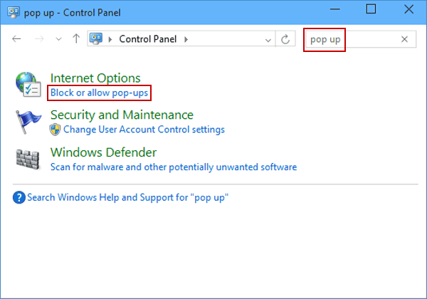 Turn off or on Pop-up Blocker for IE in Windows 10