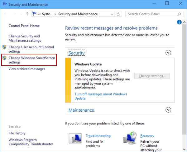 turn off smartscreen windows 10 home