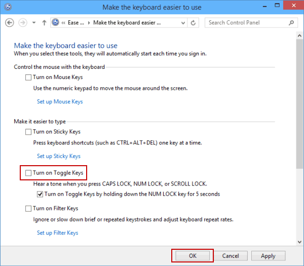 How to Turn on and Turn off Toggle Keys in Windows 10