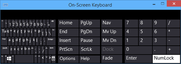 How to Turn on Numeric Key Pad on On-Screen Keyboard