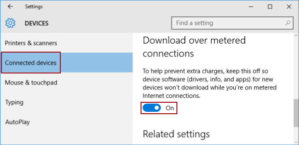 Turn on or off Download Over Metered Connections