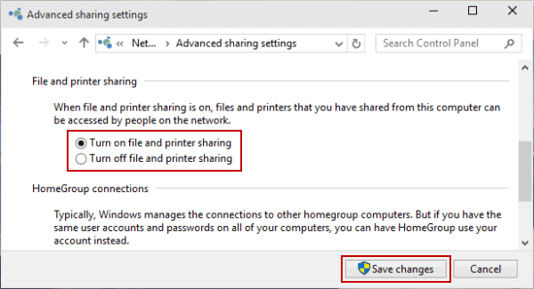 Turn on or off File and Printer Sharing in Windows 10