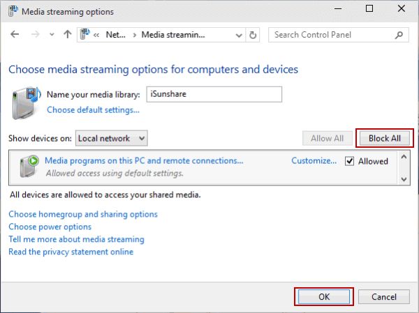 Turn on or off Media Streaming in Windows 10