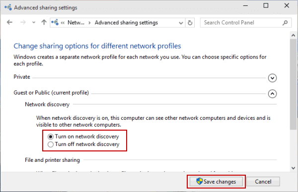 Turn on or off Network Discovery in Windows 10