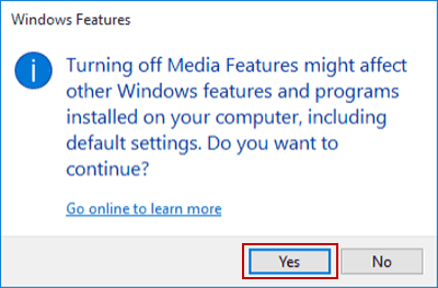 Turn on or off Windows Features in Windows 10
