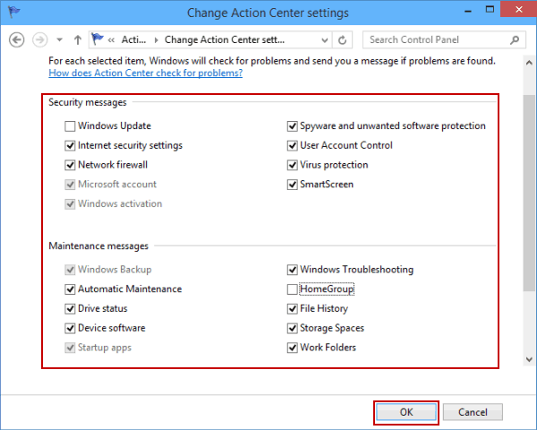Turn Security and Maintenance Messages Off or On in Windows 10