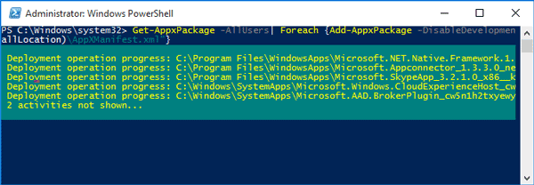 reinstall all windows 10 built-in apps with powershell command
