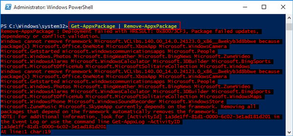 remove or uninstall windows 10 built-in apps with powershell