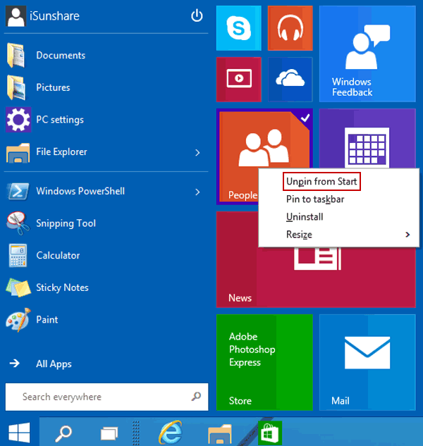 How to Unpin Tiles from Start Menu in Windows 10