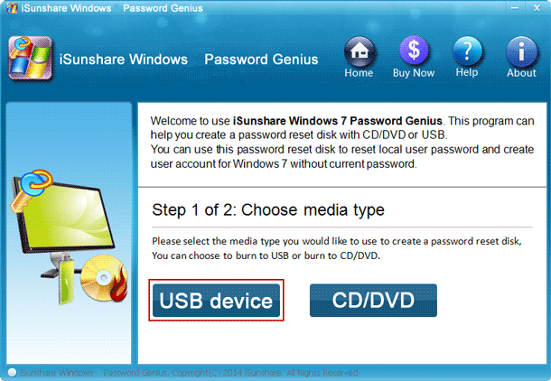 burn windows 7 password reset disk with USB